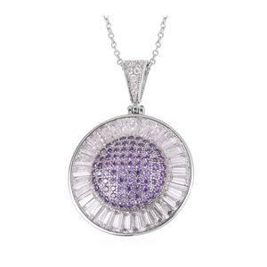 Purple & White CZ Pendant W/Stainless Steel Chain